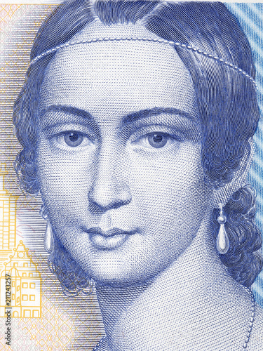 Clara Schumann portrait from Deutsche Mark Canvas-taulu