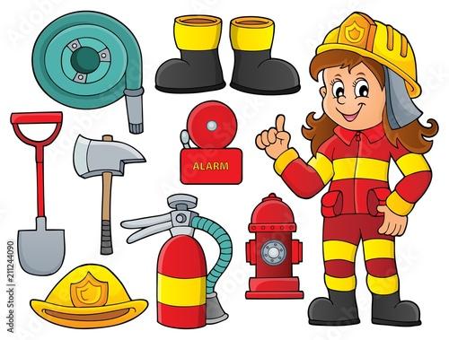 In de dag Voor kinderen Firefighter theme set 1