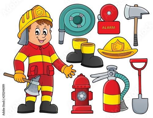 In de dag Voor kinderen Firefighter theme set 2