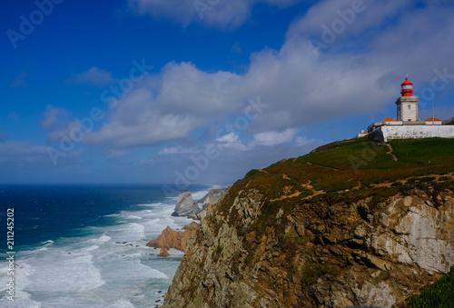 Montage in der Fensternische Leuchtturm Lighthouse of Cabo da Roca (Portugal)