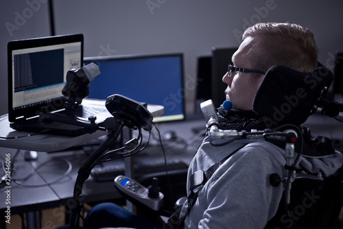 Disabled student in class room. Canvas Print