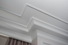 Detail Of Intricate Corner Crown Molding.  A Detail Of Corner Ceiling.