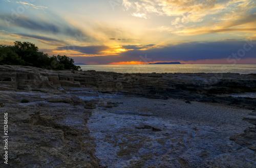 Tuinposter Koraalriffen Beautiful mysterious marine landscape at sunset. Volcanic reef and ocean, Greek iseland Crete