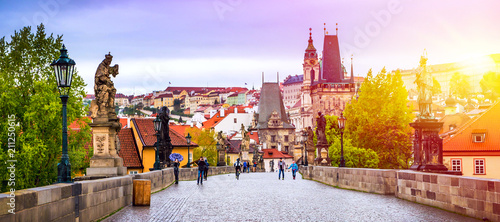 Poster Praag Prague is the capital of the Czech Republic, the European state. Historical sights.