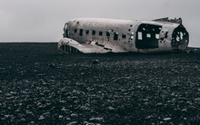 No People Plane Wreck In Iceland At A Foggy Day Without People