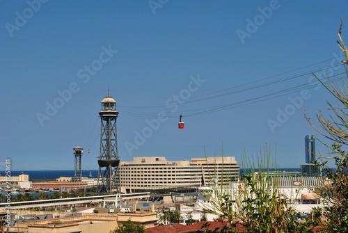 Staande foto Poort Kolejka linowa i port w Barcelonie