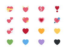 Heart Love Emojis Icons, Vecto...