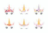 Fototapeta Fototapety na ścianę do pokoju dziecięcego - Set of different cute funny unicorn face cake decorations. Isolated objects on white background. Flat style design. Concept for children print.