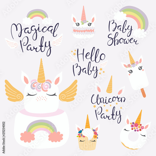 Printed kitchen splashbacks Illustrations Set of hand written baby shower lettering quotes, desserts with cute unicorn faces. Isolated objects on light background. Vector illustration. Design concept for banner, invitation, greeting card.
