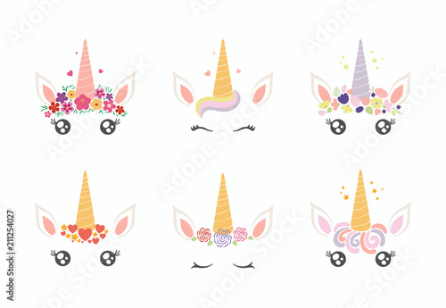Spoed Foto op Canvas Illustraties Set of different cute funny unicorn face cake decorations. Isolated objects on white background. Flat style design. Concept for children print.