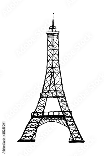 Famous Eiffel Tower In Paris Symbol Of France Hand Drawn Black And White Vector Illustration Buy This Stock Vector And Explore Similar Vectors At Adobe Stock Adobe Stock