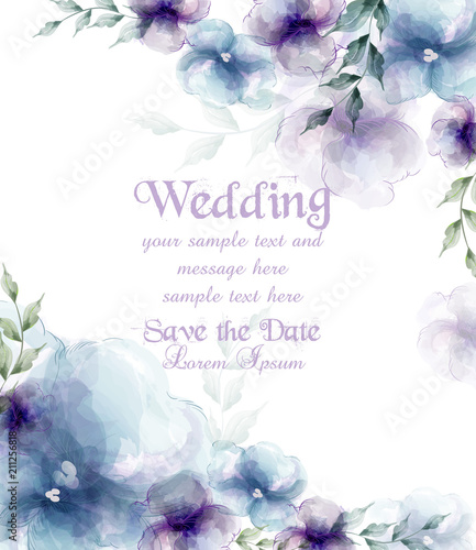 Wedding card with watercolor blue flowers Vector illustrations