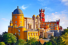 Palace Of Pena In Sintra. Lisbon, Portugal. Famous Landmark.
