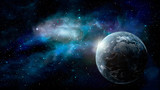 Space scene. Earth planet with blue nebula. Elements furnished by NASA. 3D rendering