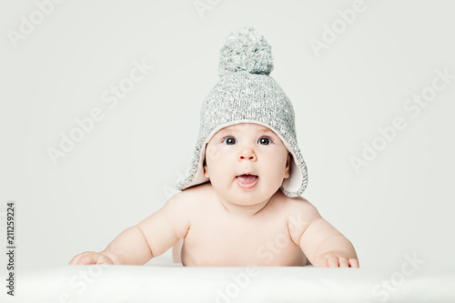 Cheerful Small Baby In Knitted Hat Portrait Happy Little Child 3
