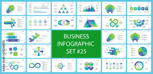 Set of teamwork and statistics concept infographic charts Canvas Print