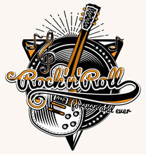 Rock And Roll Guitar Music Emblem