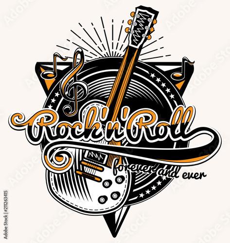 Fotografía Rock and roll guitar music emblem