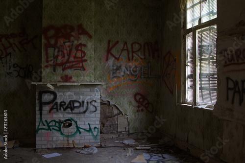 Fotografering  Woonkamer van een verlaten huis
