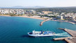 Aerial drone bird's eye view of famous port of Rafina with passenger ferries travel to Aegean islands, Attica, Greece