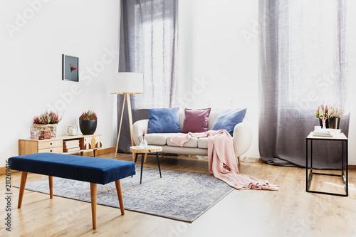 Fototapeta Blue bench in living room obraz na płótnie
