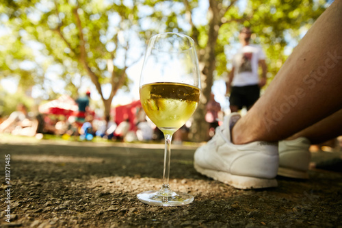 Foto op Canvas Wijn A glass of white wine standing on the ground in a park on a chilling party
