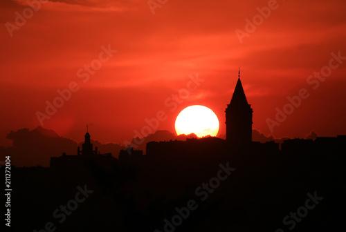 Aluminium Prints Delhi sunset over galata tower