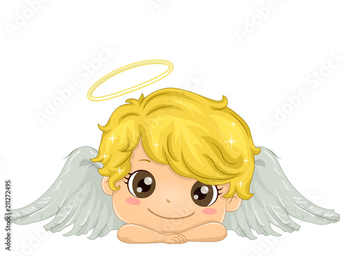 Photo Kid Boy Angel Illustration