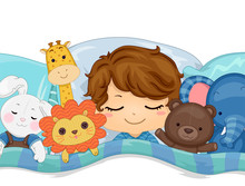 Kid Boy Sleep Stuffed Toys Illustration