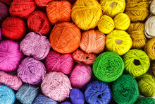 Rainbow-colored Yarn Balls, Viewed From Above.