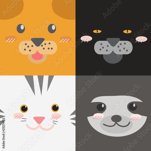 Cute Adorable Square Animals Cartoon Faces Dog Cat Jaguar Tiger