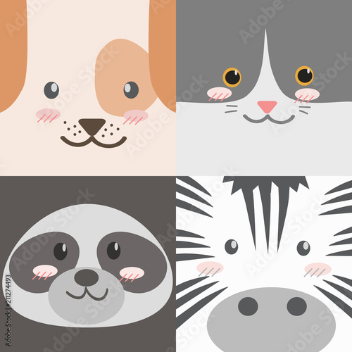 Cute Adorable Square Animals Cartoon Faces Dog Cat Raccoon Zebra