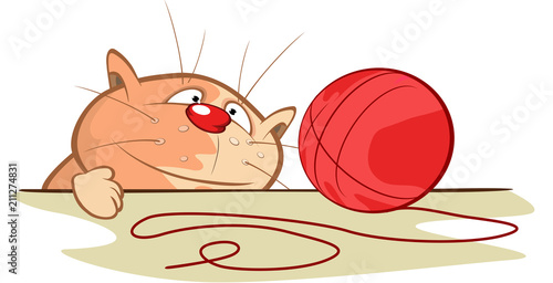 Fotobehang Babykamer Illustration of a Cute Cat. Cartoon Character