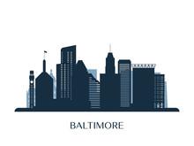 Baltimore Skyline, Monochrome Silhouette. Vector Illustration.