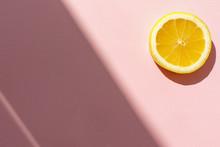 Juicy Lemon Slice On Trendy Pi...