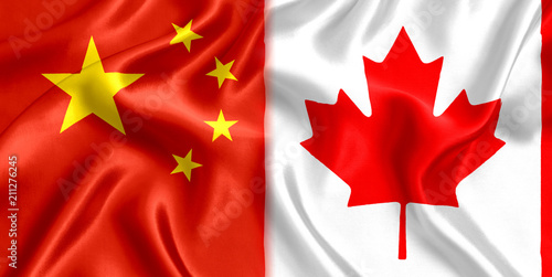 Foto op Canvas Canada Flag China Canada silk