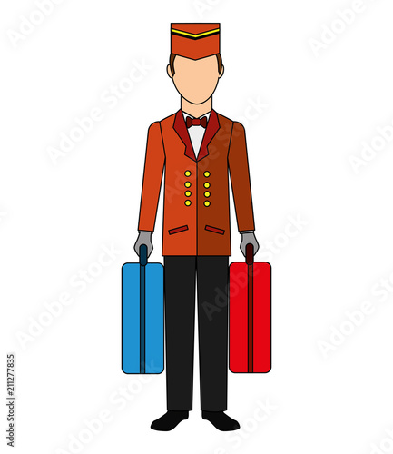 Cuadros en Lienzo bellboy hotel worker with suitcases isolated icon vector illustration design