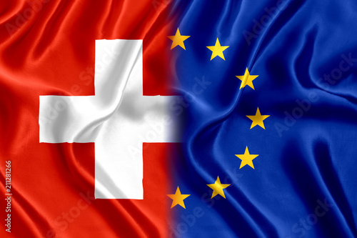 Obraz Flag of Switzerland and the European Union silk - fototapety do salonu
