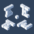 Isometric letters E in varions views. Made with 3d blocks and cubes