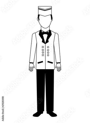 Fotografie, Obraz  bellboy hotel service in uniform vector illustration black and white