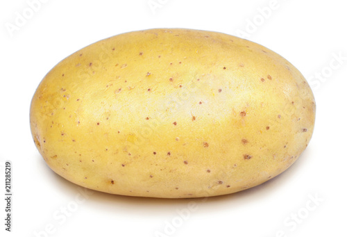 Potato isolated on white background. Fresh, raw potato, studio shot. Cooking ingredient.