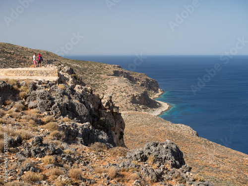 Tuinposter Kust Layered rocks on the western coast of Crete, near by Balos bay. Greece, june 2018