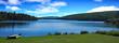 Leinwandbild Motiv A summer camp setting on an alpine lake in Northern Michigan.