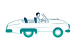 classic wedding car with housband marriage isolated icon vector illustration design