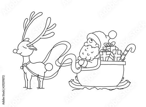 ausmalbild weihnachtsmann mit schlitten