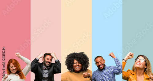 Cool group of people, woman and man happy and excited expressing winning gesture Tableau sur Toile