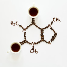 Chemical Formula Of Caffeine. Cups Of Espresso, Beans And Coffee Powder. Art Food. Top View.