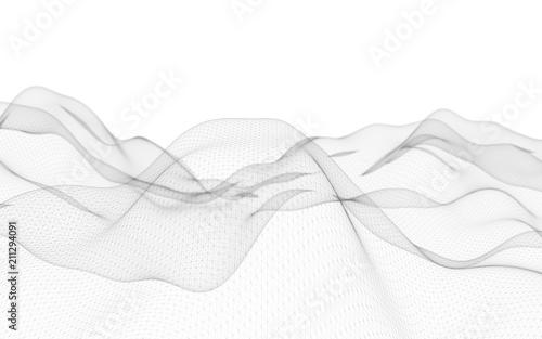 Fototapeta Abstract landscape on a white background. Cyberspace grid. Hi-tech network. 3d technology illustration obraz na płótnie