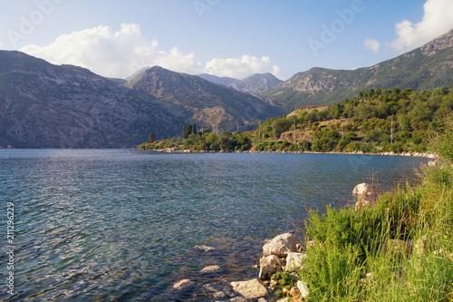 Foto op Canvas Blauwe hemel Summer Mediterranean landscape. Montenegro, view of Bay of Kotor(Adriatic Sea) near Risan town