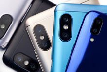 Smartphones With Dual Cameras, Top View.